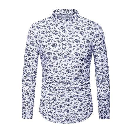 WODENINEK Camisas Casuales De Los Hombres, Estampado Floral Collar ...