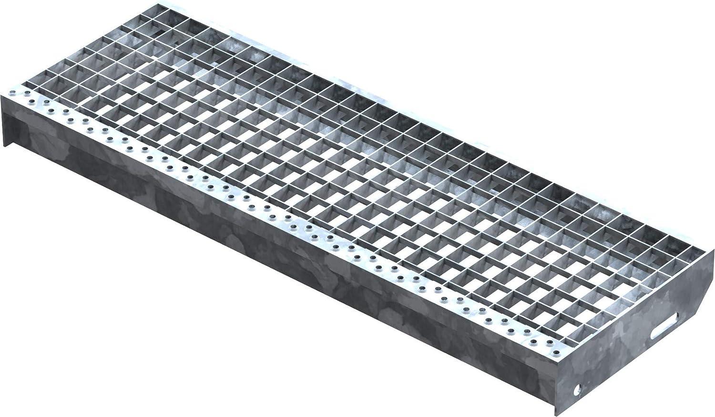 Fenau | Escalón de rejilla (R12) XSL - Dimensiones: 800 x 270 mm - MW: 30 mm / 30 mm - galvanizado en caliente, Escalón de acero según norma DIN, Antideslizante