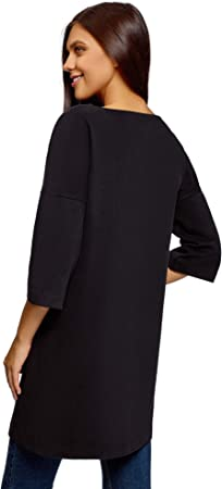 oodji Ultra Mujer Vestido Recto con Inscripción en el Pecho