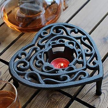 CQ Decoración en Forma de corazón Europea de la joyería del hogar del sostenedor de Vela de la Parrilla de la Estufa del Alcohol del arrabio: Amazon.es: ...