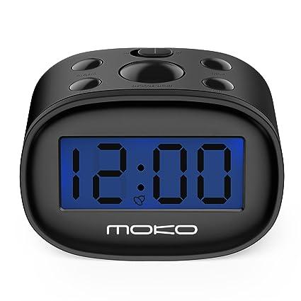 MoKo Kids Alarm Clock, High Accuracy Mini LCD Display Digital Clock Night Light Travel Bedside Alarm Clocks with Snooze Time Backlight Electronic Home ...