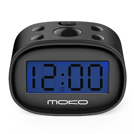 MoKo LED Digital Despertador, Alta Precisión Mini Pantalla LCD Reloj para Niños Night Light Travel