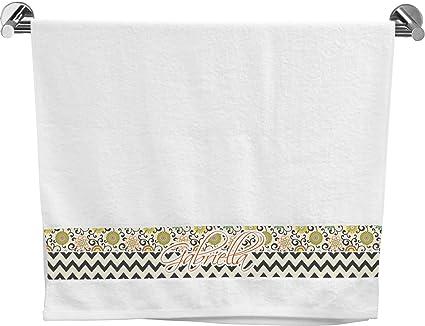 Remolinos, flores y rayas toalla de baño (personalizado)