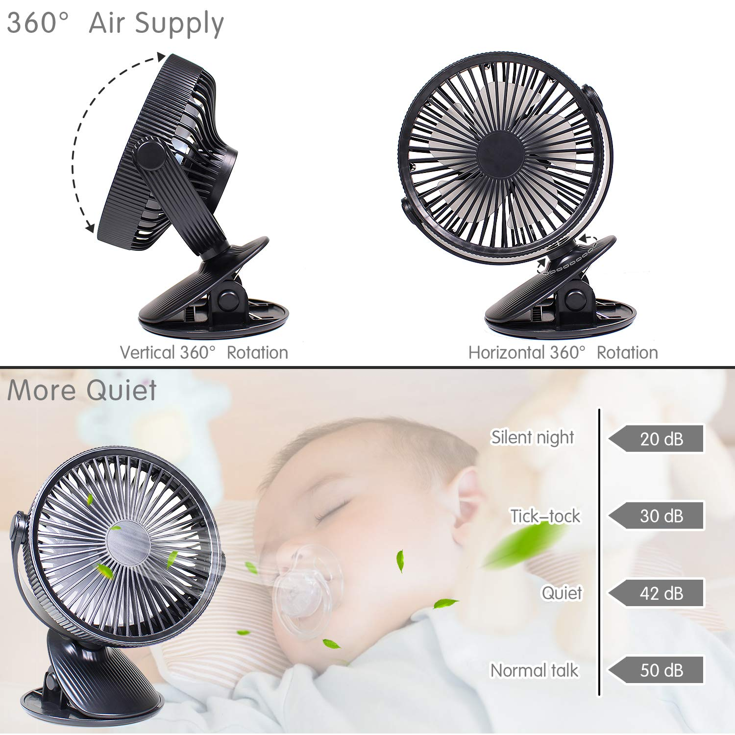 LATITOP Clip Desk Fan Mini Desk Fan Portable Rechargeable Battery or USB, Small Personal Fan for Baby Stroller Car Laptop Table Camping Outdoors Home Office