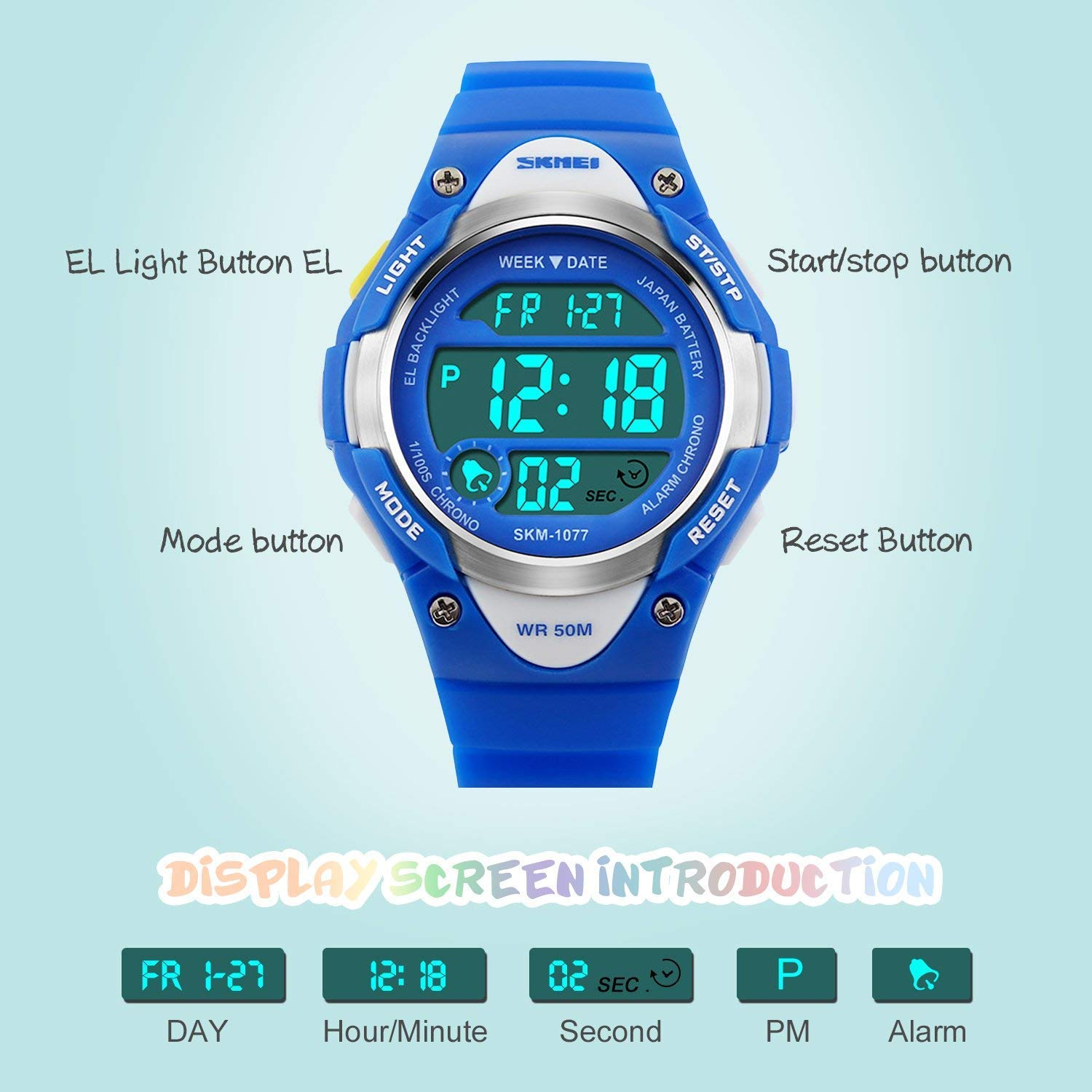 Boys Sport Digital Watch, Kids Outdoor Waterproof Electronic Watches with LED Alarm Stopwatch - Blue by cofuo (Image #3)