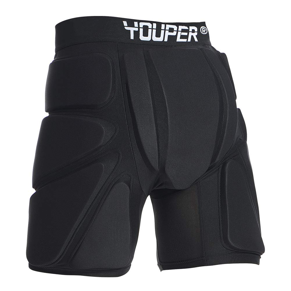 Youper Protective Padded Shorts for Ski, Snowboard, Skate Roller Sports, 3D Protection for Butt, Hip Tailbone