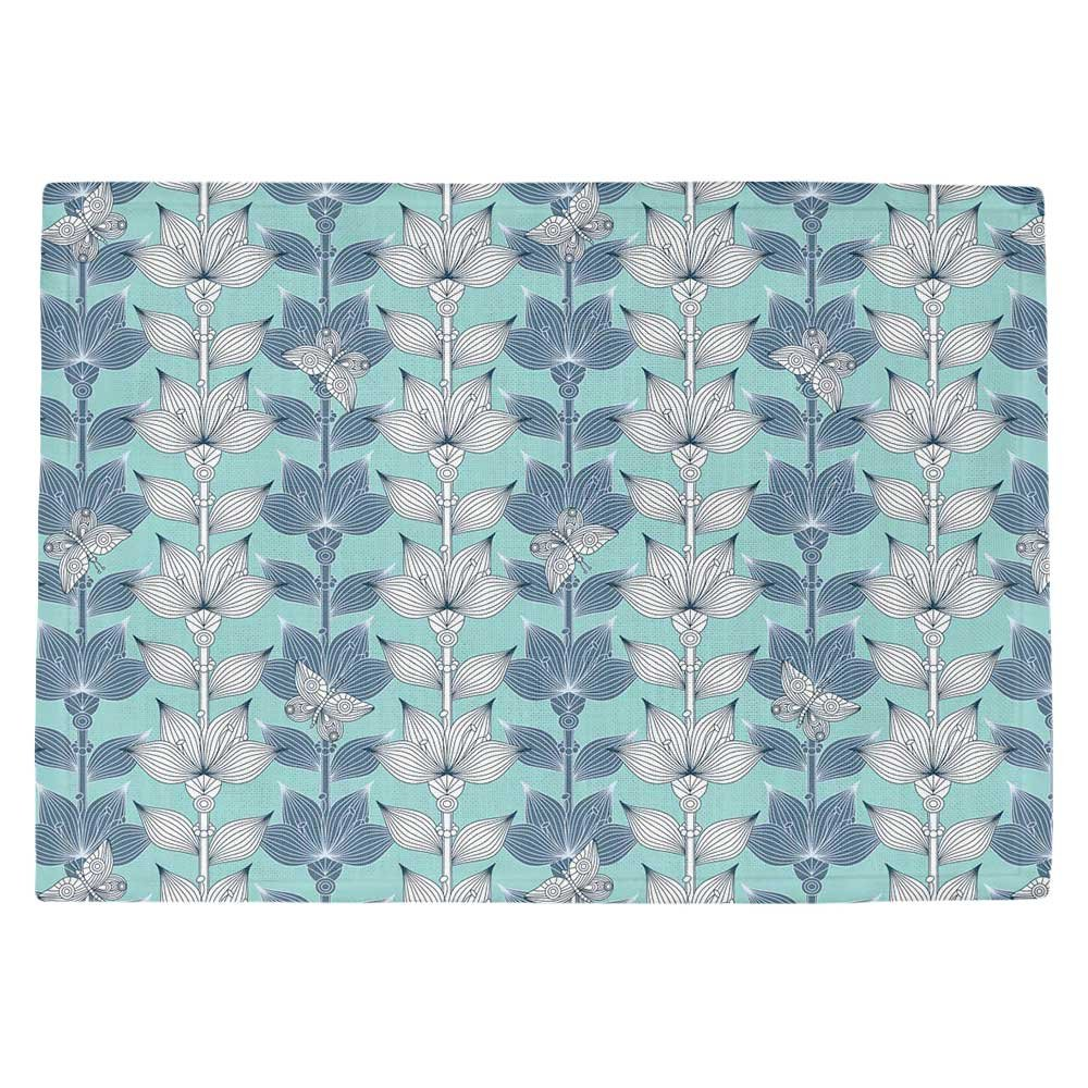 DIANOCHEキッチンPlaceマットbyジュリアGrifol – ホワイトandブルー花 Set of 4 Placemats PM-JuliaGrifolWhiteandBlueFlow2 Set of 4 Placemats  B01EXSIOSO