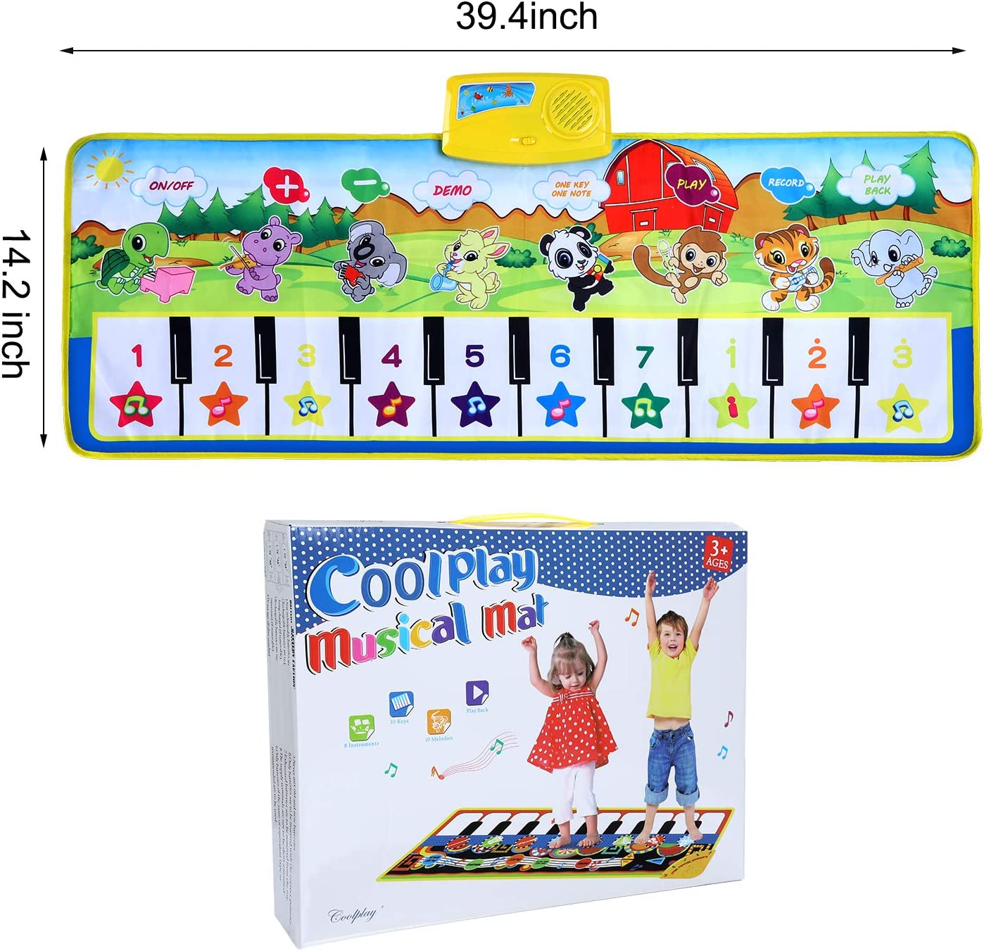 SUPTEMPO Keyboard Playmat Kids Musical Mats Portable/&Safe Musical Dance Mat Early Education Toys Gifts For Kids Toddler Girls Boys Christmas Music Piano Mat