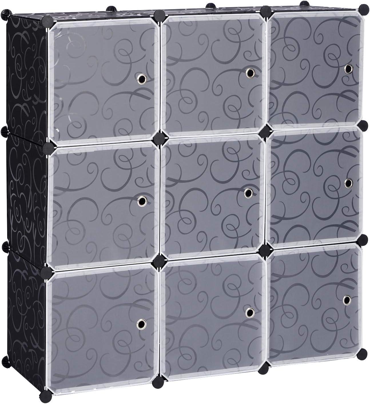 eSituro Armario Organizador Modular Estanterías de Montaje de DIY, Armario de Almacenamiento de Plástico, Armario Estantería con 9 Cubos Negro SGR0032: Amazon.es: Hogar