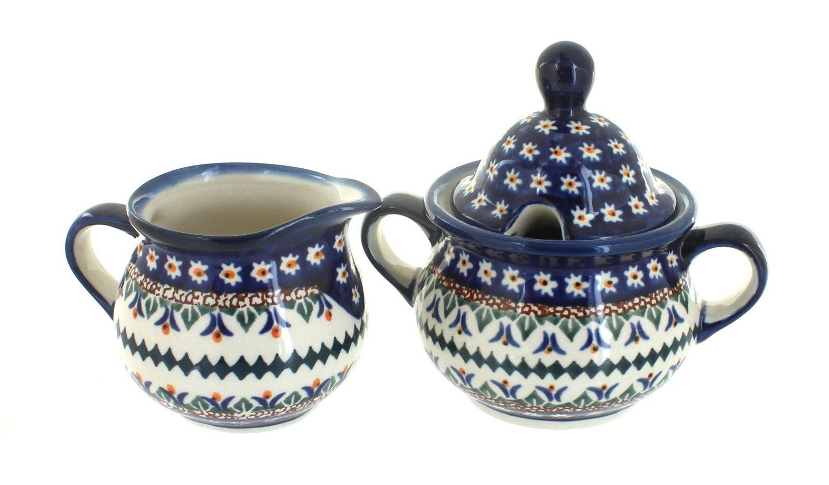 OKSLO Polish pottery daisy cream & sugar set