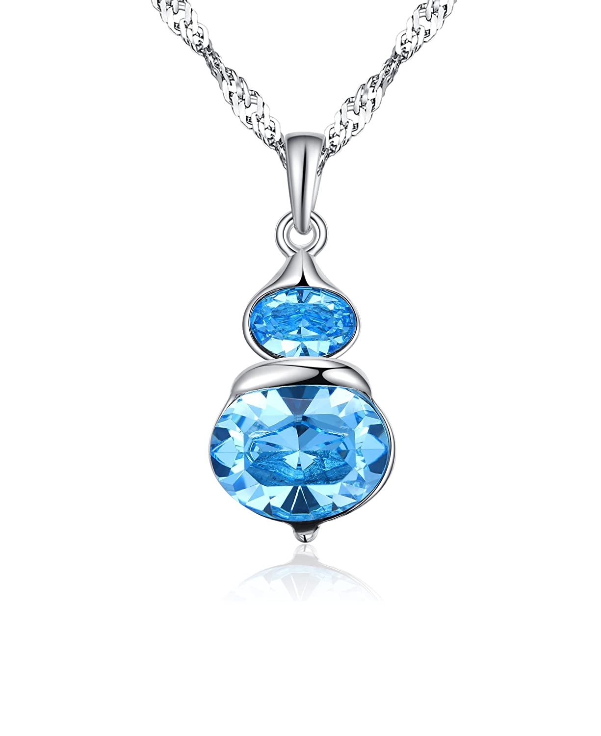 0a9b843c6 Amazon.com: Arieanna S925 Sterling Silver Lucky Gourd Blue Swarovski  Element Crystal Pendant Necklace for Women: Jewelry