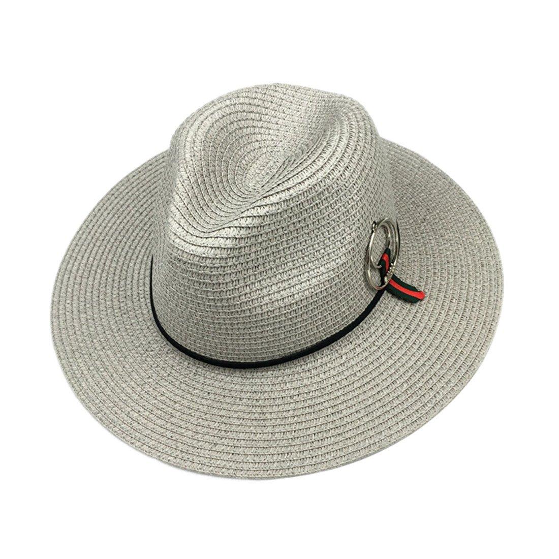 ACVIP Womens Summer Straw Beach Fedoras Beach Hat for Outdoor Leisure Time