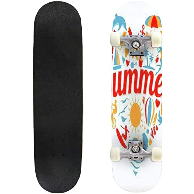 Classic Concave Skateboard I Love Summer Longboard Maple Deck Extreme Sports and Outdoors Double Kick Trick for Beginners and Professionals : Sports & Outdoors