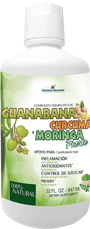 Amazon.com: Moringa Curcuma and Guanabana Tonic by Farmacia Mexicana - Powerful Antioxidants in 1-32 oz: Health & Personal Care