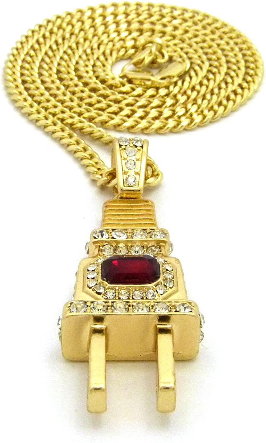 NEW ICED OUT ELECTRIC PLUG PENDANT /&24 CUBAN CHAIN HIP HOP NECKLACE XQP63GRD