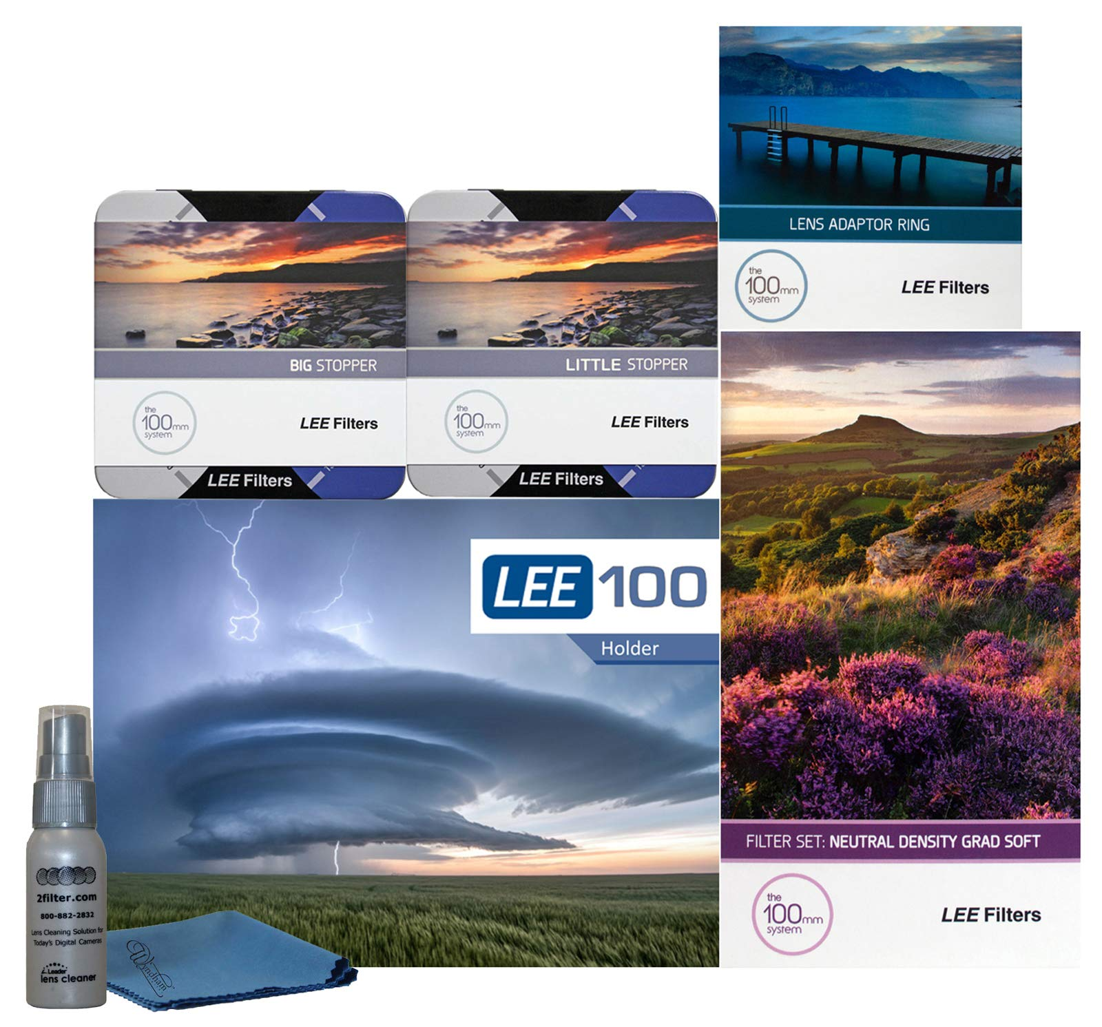 LEE Filters LEE100 82mm Landscape Pro Kit - LEE100 Filter Holder, Lee 100mm Soft Edge Set Graduated ND Filters LEE 100mm Big Stopper and Little Stopper and 82mm Wide Angle Adapter Ring by Lee Filters