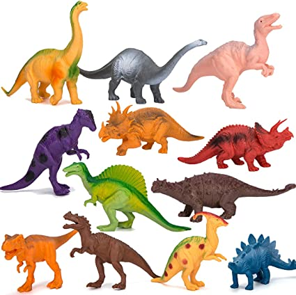 Harapu Dozen Small Assorted Dinosaur Figures Pack of 12 Mini Plastic Educational Dino Model Toys 2-inch for Kids and Toddlers