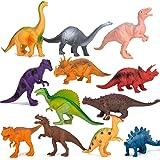 Kids Dinosaur Figures Toys, 7 Inch Jumbo Plastic Dinosaur Playset, STEM Educational Realistic Dinosaur Figurine for Boys Girl