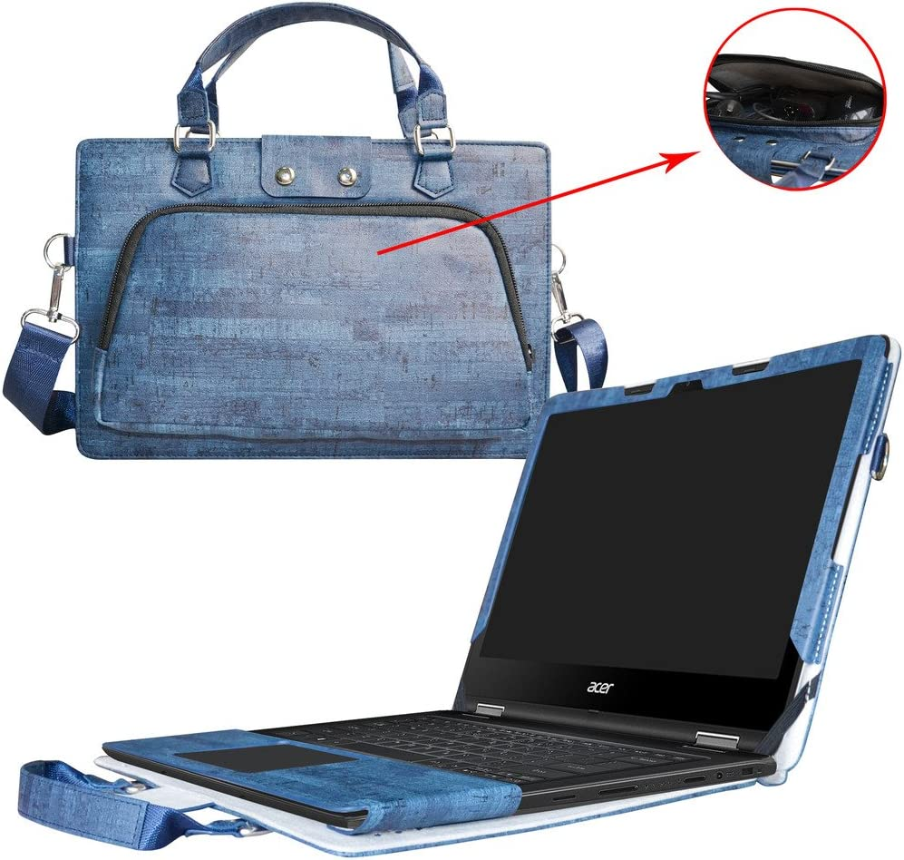 """Acer Spin 5 13.3 inch Case,2 in 1 Accurately Designed Protective PU Leather Cover + Portable Carrying Bag for 13.3"""" Acer Spin 5 SP513-51 Series Laptop(Not fit Spin 5 SP513-52 SP515-51 Serie),Blue"""