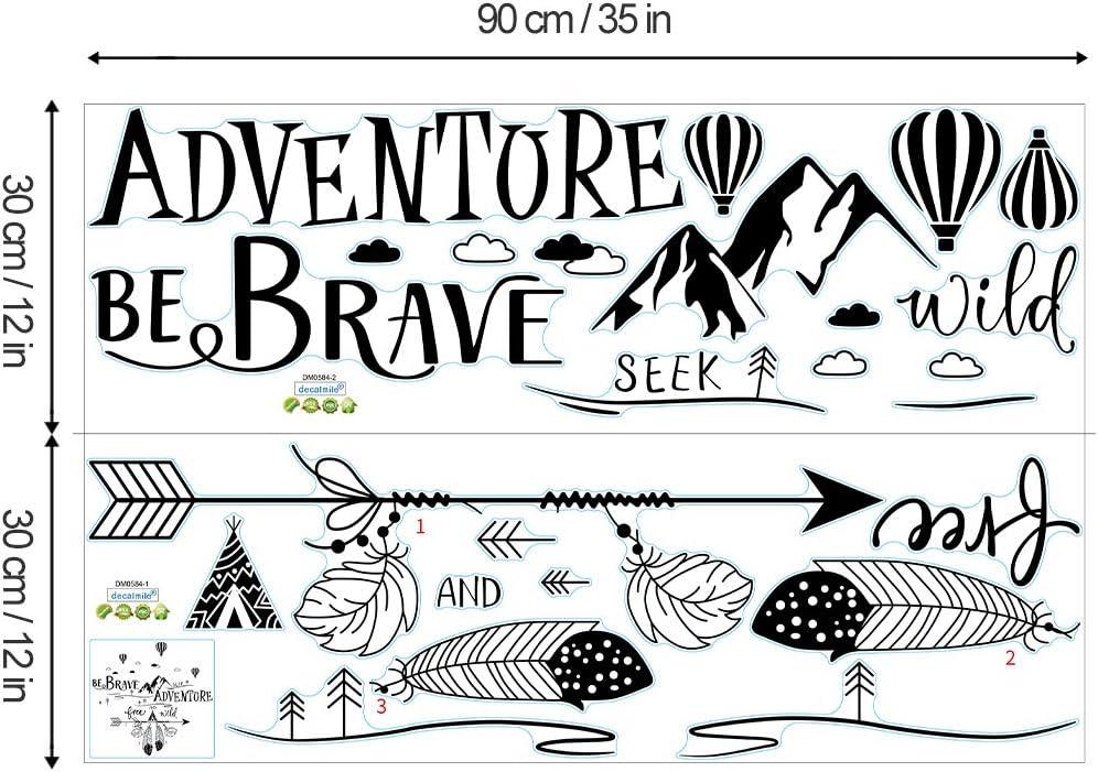 decalmile Pegatinas de Pared Frases BE Brave Seek Adventure Vinilos Decorativos Letras Monta/ñas Negro Adhesivos Pared Dormitorio Sal/ón Oficina