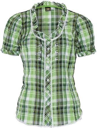 OS Trachten 002618 - Blusa de manga corta para mujer, elástica, diseño a cuadros, color verde verde cuadros 54: Amazon.es: Ropa y accesorios
