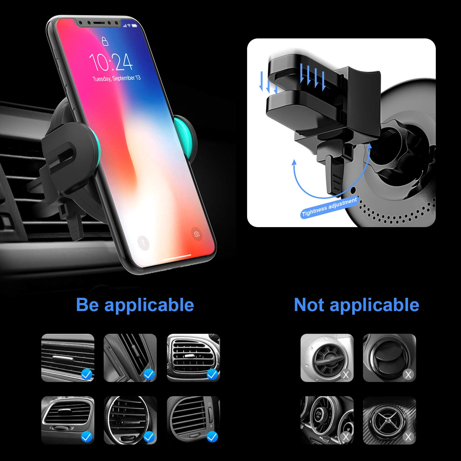 Wireless Car Charger Mount, [2019 Edition] KOAKUMA Auto-Clamping QI Fast  Charging Car Mount Dashboard Air Vent Phone Holder Compatible iPhone Xs