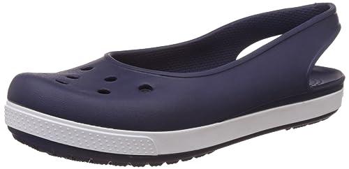 eab7f64b9fa3d1 crocs Women s Crocband Airy Slingback W Nautical Navy and White Ballet Flats  - W11