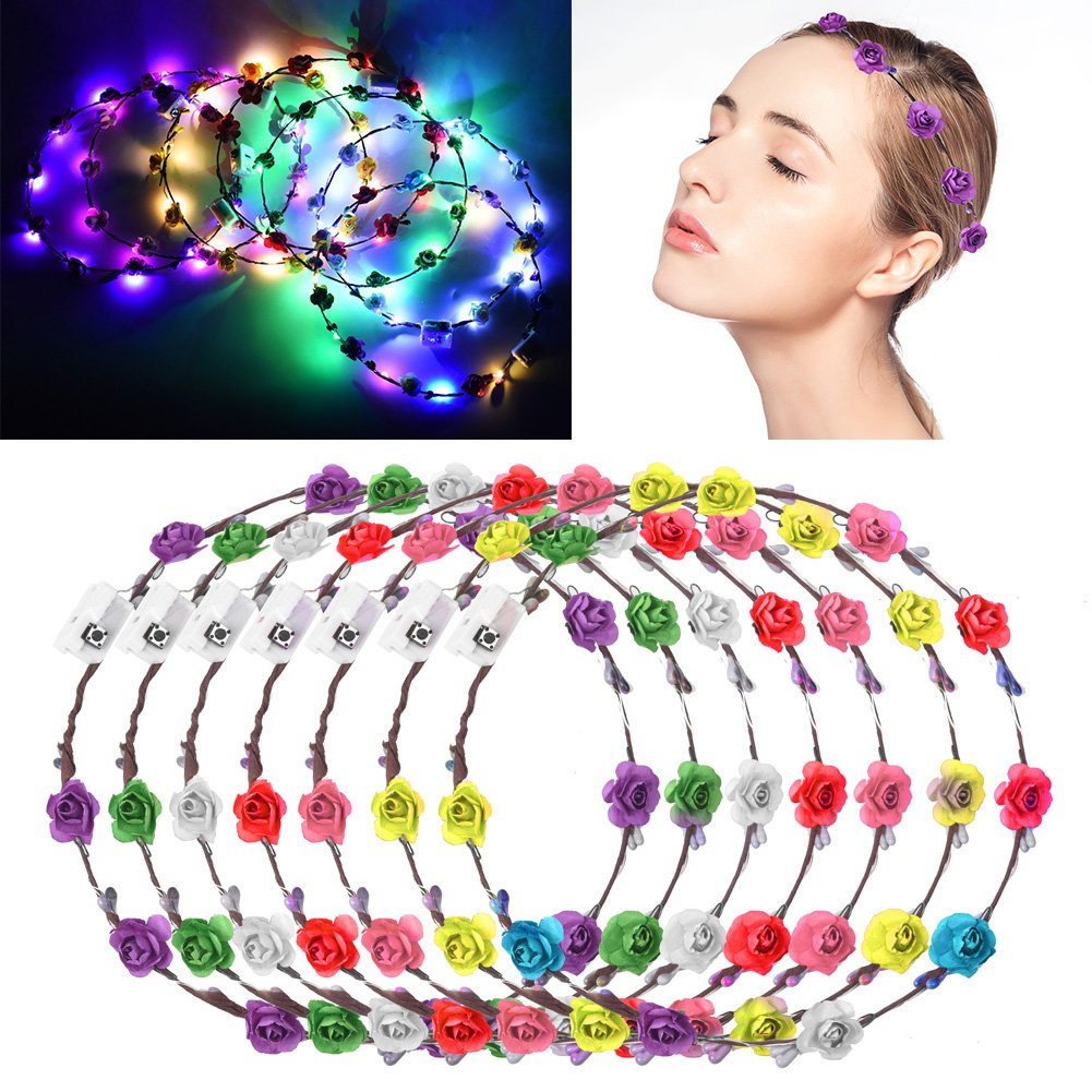 Flower Wreath, Lionsoul 7PCS LED Flower Crown Headband Flower Headpiece Flower Headdress for Girls Kids Party Favors(7PCS) (Multi)