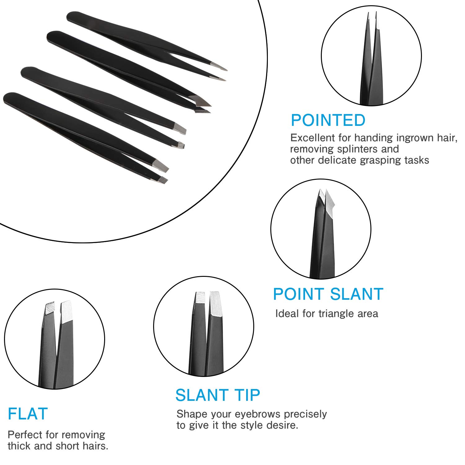 Amazon Eyebrow Tweezers Set Professional Slant Tip Tweezers