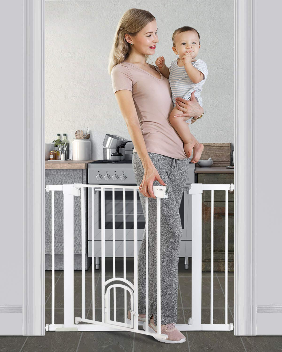Cumbor 40.6 Auto Close Safety Baby Gate with Arch Cat Door, Extra Wide Durability Pet Gate for Dog, Easy Walk Thru Child Gate for Stairs,Doorways. Included 2.75-Inch and 5.5-Inch Extension