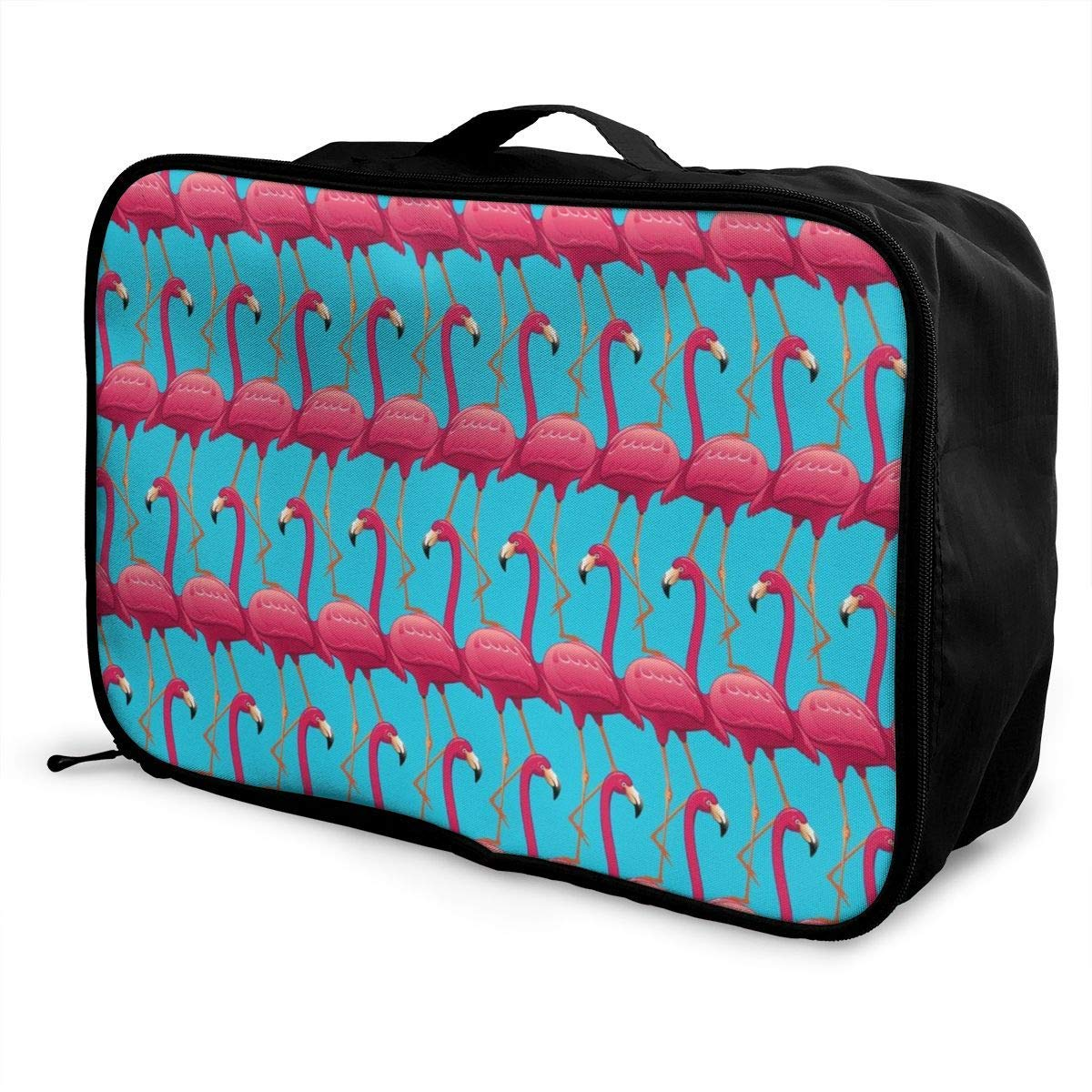 Pink Flamingos On Blue Background Travel Lightweight Waterproof Foldable Storage Carry Luggage Duffle Tote Bag JTRVW Luggage Bags for Travel