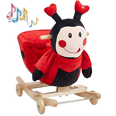 KARMAS PRODUCT Baby Kids Rocking Horse Toy Child Wooden Plush Rocking Horse Chair Rocker/Ladybug Animal Ride on, with Wheels/Music/Seat Belt: Toys & Games [5Bkhe1104531]