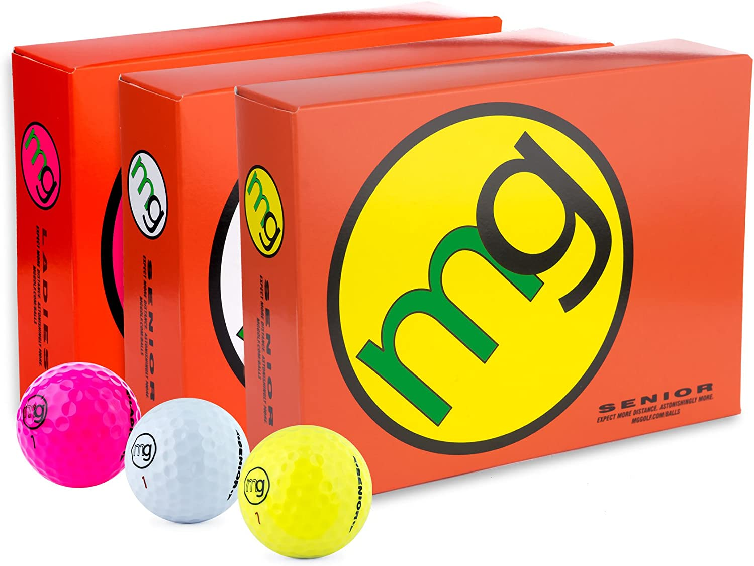 MG Golf Balls Senior Longest with Speed, Distance, Maximum Enjoyment (1-Dozen)
