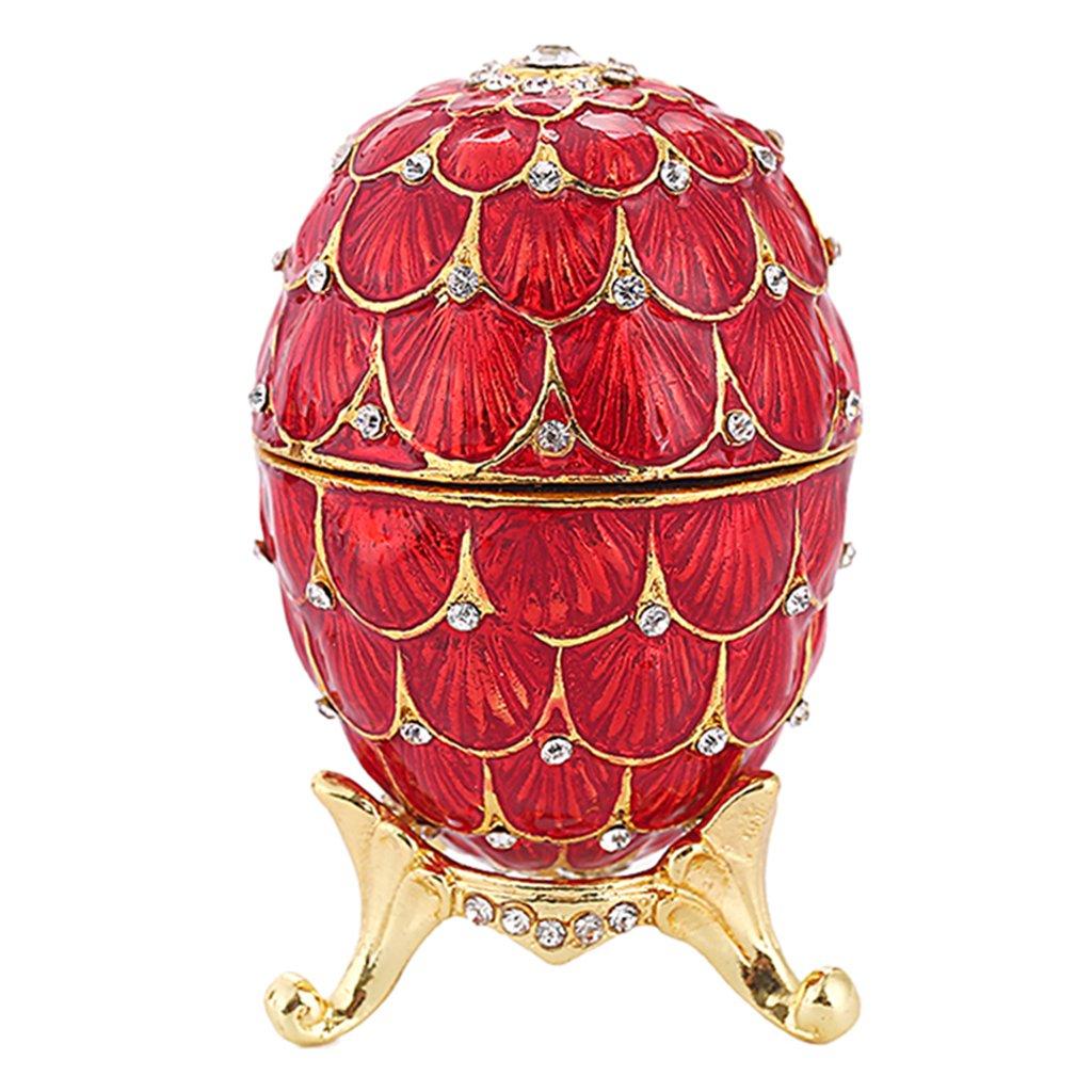 Baoblaze Boîte à Bijoux Forme Oeuf de Pâques Bibelots Coffret à Bijoux avec Fermoir Magnétique