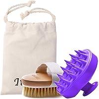 Schampo borste badborste kit paket 2 med hårborste silikon hårbotten massageapparat och torr hud kroppsborste exfoliera…