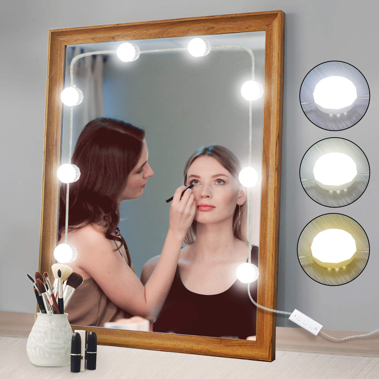 2018 Newest Vanity Mirror Lights Kit Hollywood Style 8 Dimmable LED Light Bulbs Warm White to Daylight Tunable, Linkable Lighting for Makeup Vanity Table Set in Dressing Room (Mirror Not Included)