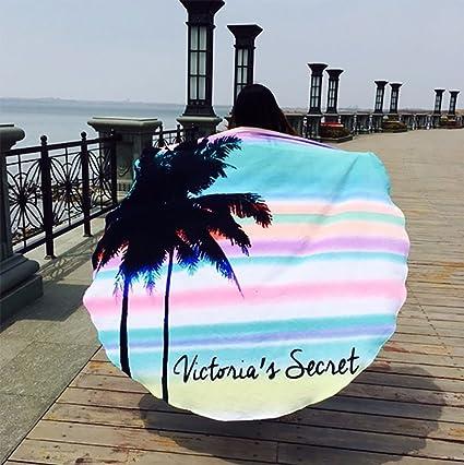 Fibra redonda de microfibra playa borlas de impresión alfombra toalla de baño Picnic manta