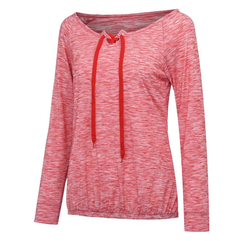 STORTO Fashion Women Solid Long Sleeve Cross Lace Up Grommet Casual Loose Top Sweatshirt