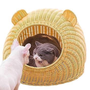 Cama de mimbre para gatos de ratán Casa de gatos de verano ...