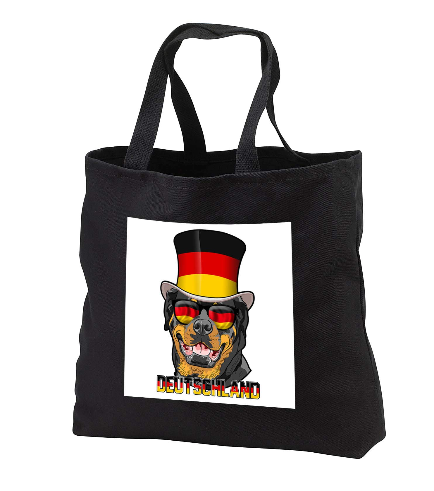 Carsten Reisinger - Illustrations - Germany Rottweiler Dog with German Flag Top Hat and Sunglasses - Tote Bags - Black Tote Bag 14w x 14h x 3d (tb_293421_1)