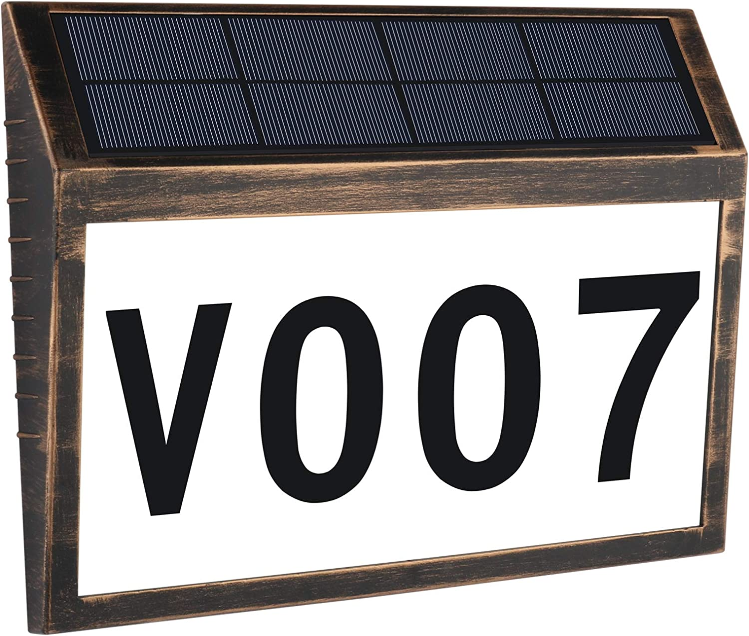 AFLIFLI House Numbers Plaque, Solar Powered LED Light Address Number Signs, IP44 Waterproof for Home Yard Outdoor Street Outside Wall, Packed with 3 Sets Numbers (0-9) & 26 Letters Self Stickers-Bronze