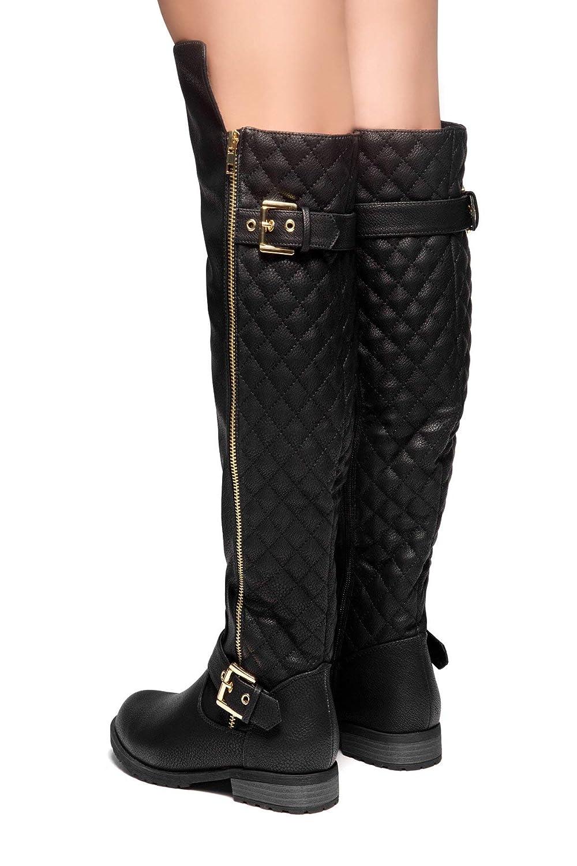 cdf2e69d2 Amazon.com   Herstyle Neekkaa Women's Boots- Quilted Zipper, Buckle Over  Knee Riding Boots Black 6   Boots
