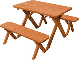 product image for Pressure Treated Pine 4 Foot Cross Leg Picnic Table with Detached Benches - Cedar Stain