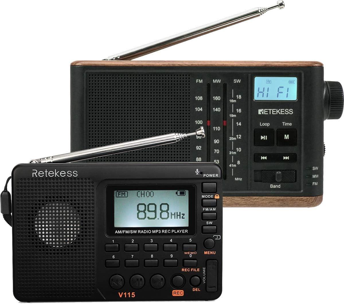 Retekess V115 Shortwave Radio, Portable Radio AM FM with Bass Sound, and TR613 AM FM Shortwave Radio, Portable Tabletop Radio, Retro MP3 Radio (Bundle)