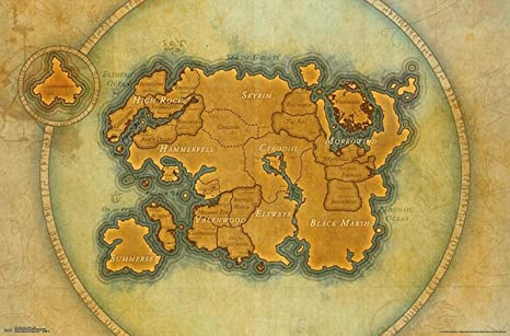Close Up The Elder Scrolls Online Poster Map (86,5cm x 55,5cm) + ...