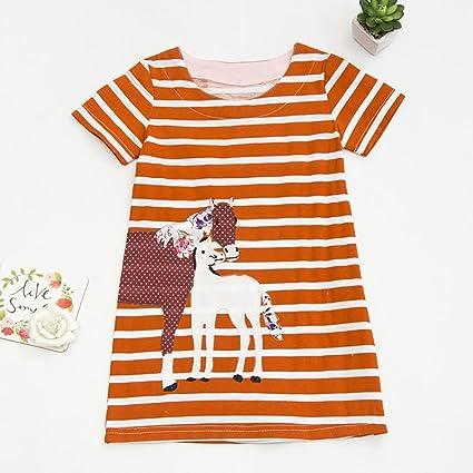 Covermason Niños Ropa Venta de liquidación Niños pequeños Bebés y niñas Vestido de manga corta a rayas de dibujos animados bordado túnica Trajes niños ...