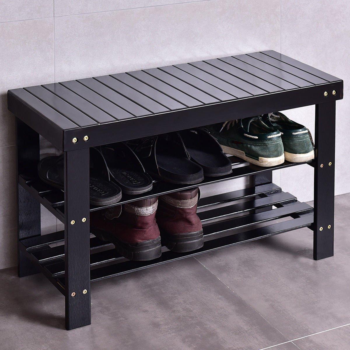 COSTWAY Bamboo Shoe Rack Bench 3-Tier Free Standing Wood Shoe Storage Organizer Shelf Holder Home Entryway Hallway Furniture Eco-Friendly (Black)