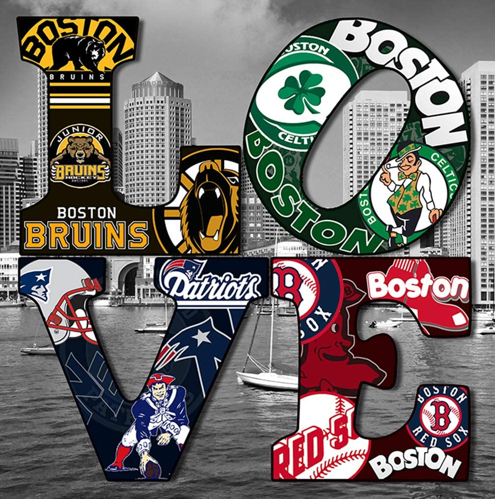 Pure Boston City Sport Collage on Love on Canvas Stretched on Wood Wall Art Decor Made in US (City Background, 12X12)