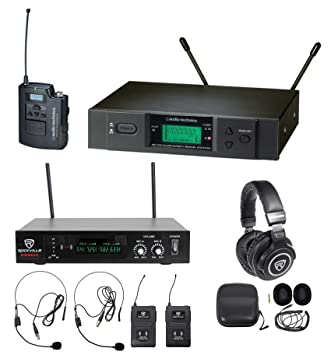Audio Technica atw-3131bc UHF micrófono inalámbrico + libre micrófonos + auriculares: Amazon.es: Instrumentos musicales