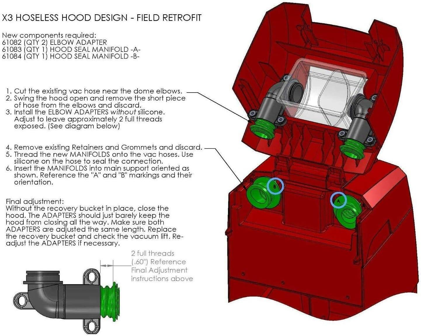 Hose Kit fit Rug Doctor Mighty Pro C2 Wide Track Hose only 85228 85226